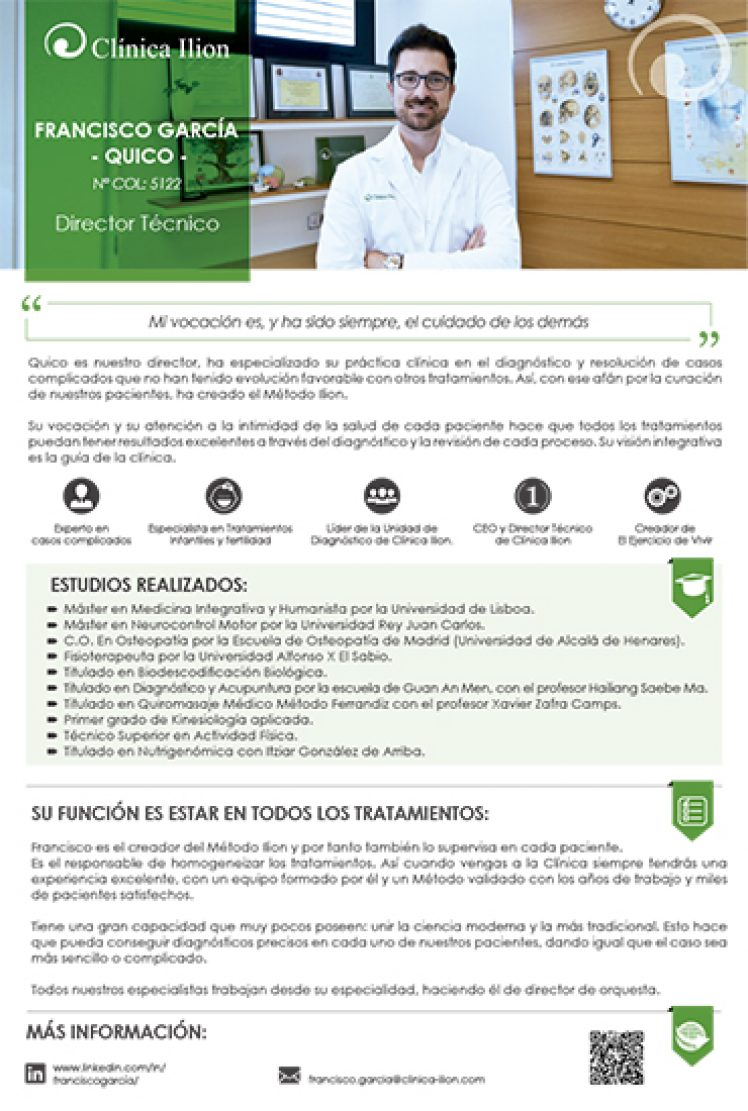 CLINICA ILION_CEO_DIRECTOR TECNICO_SEGUNDA OPINION_CASOS COMPLICADOS_MEDICINA INTEGRATIVA_QUICO GARCIA_FRANCISCO GARCIA_VILLAVICIOSA DE ODON