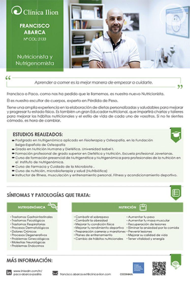 FRANCISCO ABARCA_NUTRICIONISTA EN CLINICA ILION_NITRICION Y NUTRIGENOMICA EN VILLAVICIOSA DE ODON_DIETAS QUE FUNCIONAN